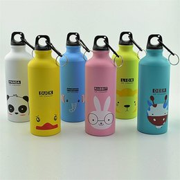China Children Travel Hanging Water Bottle Metal Hooks Portable 500ML Aluminum Vacuum Cup Outdoor Sports Cartoon Animal Pattern 6 5ha hh cheap wholesale animal water bottles suppliers