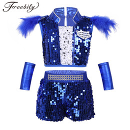 f612c01f37b Kids Sequin Hip Hop Clothing Clothes for Girls Crop Tops Shorts  Wrist-Sleeves Jazz Dance Costume Ballroom Dancing Streetwear