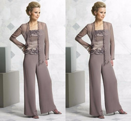 $enCountryForm.capitalKeyWord Australia - High Quality Beaded Mother Of The Bride Pant Suits With Jackets Square Neck Wedding Guest Dress Plus Size Chiffon Mothers Groom Dresses