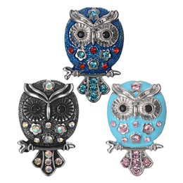 owl snap button 2019 - 10pcs lot New Ginger Snap Jewelry Antique Crystal Owl Snap Buttons Fit 18mm Button Bracelet Bangles DIY Jewelry VN-2068*