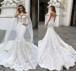 Plunge Wedding Dresses UK - 2019 Gorgeous Mermaid Lace Wedding Dresses With Cape Sheer Plunging Neck Bohemian Wedding Gown Appliqued Plus Size beach wedding dresses