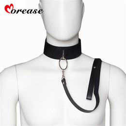 bdsm collared slave women Australia - Sex Slave Bondage Collar and leash Neck Dog Collar Leather Harness Fetsih Erotic BDSM Sex Adult Games Toys For Couples Woman Men C18112701