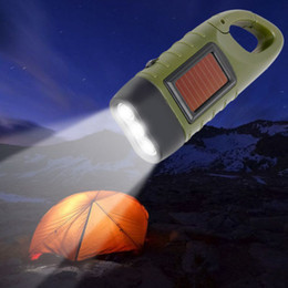 RechaRgeable solaR toRch online shopping - Mini Emergency Hand Crank Dynamo Solar Powered Flashlight Torch Rechargeable LED Light Lamp Powerful Torch For Camping Outdoor Free DHL