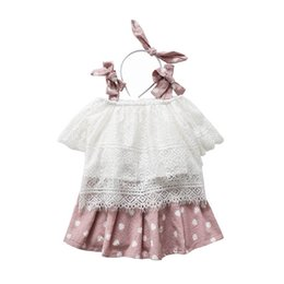 a029b64f1666 Cute Girls Outfits Summer 2019 new 3pcs Kids Sets lace tank tops+Skirts+  bows designer headband Girl Suit kids clothes kids clothing A3766