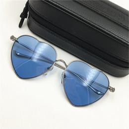 02fbdbf1c7b Chrome Oversized Sunglasses Women Sunglasses Heart Shaped Metel Frame  Sunglasses Brand Designer Pink Blue Lens Sun Glasses with Original Box