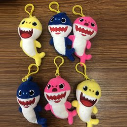 $enCountryForm.capitalKeyWord NZ - High Quality 100% Cotton 3 Color Baby Shark Keychain Pendant Keyring Plush Toy For Child Holiday Gifts 4inch 10cm
