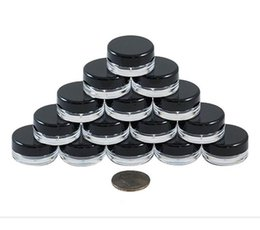 small round plastic lids NZ - 3G 3ML High Quality Clear Round Cosmetic Pot Jars with Black Screw Cap Lids And Small Tiny 3g Bottle