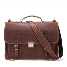 genuine leather notebook NZ - 14 Inch Notebook Computer Genuine Leather mens brown laptop messenger bag Business Affairs briefcases handbag a case