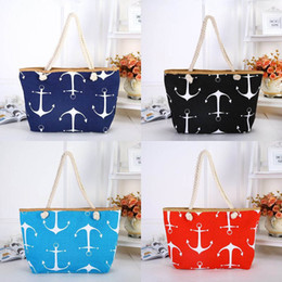 $enCountryForm.capitalKeyWord Australia - Boat Anchor Shoulder Bags Stripe Design Bag Summer Beach Bag Canvas Handbags Classic Totes Fashion Travel Holiday Bags