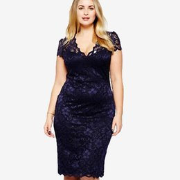 solid crochet plus size shorts NZ - Wipalo Plus Size Women V Neck Elegant Lace Dress Summer Sexy Crochet Hollow Out Evening Sheath Bodycon Vestidos Dress Female 5XL MX200508
