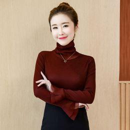 $enCountryForm.capitalKeyWord NZ - Turtleneck Flare Sleeve Long Sleeve Blouse Fashion Solid Pullover T-shirts Slim Underwear New Autumn Women Blouses 4 Colors 2030