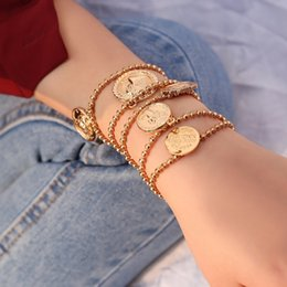 $enCountryForm.capitalKeyWord Australia - New Nice Fashion Jewelry Circular Figure Queen Angel Pendant Bracelets Alloy Gold Chains For Women Lobster Charm Bracelets Free Shipping