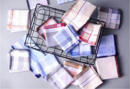 Cotton Scarf Squares Australia - 5Pcs 100% Cotton Multicolor Plaid Stripe Men Pocket Squares Business Chest Towel Pocket Scarves