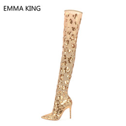 8dfdf6079 Sping Boots Women New Summer Thigh Elastic Knee High Boots Bling Sequins  Zip Thin High Heels Party Show Shoes For Ladies