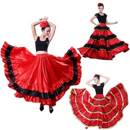 7c095be5b060 Spanish Bullfight Festical Stage Wear Performance Woman Flamenco Skirt  Carnival Party Red Black Satin Belly Dance Dress