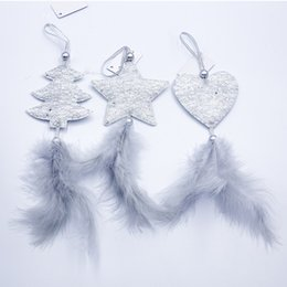 hanging star christmas decoration NZ - 3pcs Christmas Star Heart Feather Christmas Tree Pendant Window Display Closet Hanging Ornaments Xmas Party Decoration Xmas Gift