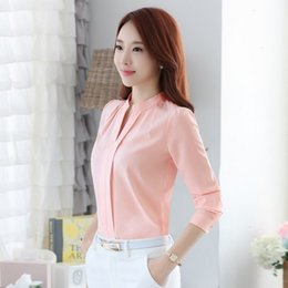 Wholesale formal blouse standing collar for sale – plus size Designer Blouse Woman Women Fashion Full Sleeve Casual Chiffon Formal Blouse Stand Collar V Neck Work Wear Solid Color Office Shirts