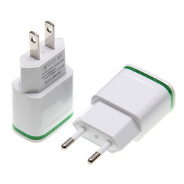 light up plugs Canada - LED Light Up Dual USB Ports Travel Home Power Adapter 5V 2.1A+ 1A AC EU US Plug Wall Charger