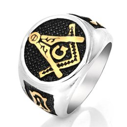 stainless steel masonic rings Australia - Fashion 316L Stainless Steel Black Oil Drip Gold Silver Two Tone Masons compass and square Masonic signet rings jewelry for men
