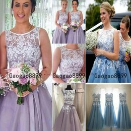 Knee length blue lace evening dress online shopping - 2020 new Lavender A Line Bridesmaid Dresses sheer lace neck jewel neck short Evening Gowns knee length country Maid Of Honors Dresses