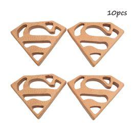 $enCountryForm.capitalKeyWord UK - Beech Wooden Superman Teether Unfinished Wood Animal Food Grade Baby Wood Ring Teether DIY Nursing Necklace Charms Pendant