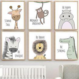 Zebra Print Art Australia - zebra Hippo Giraffe Lion Crocodile Nursery Wall Art Canvas Painting Nordic Posters And Prints Wall Pictures Baby Kids Room Decor