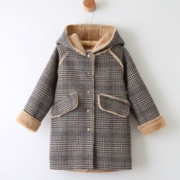 Jackets For Autumn Australia - Fashion Baby Girls Plaid Outerwear Baby Hooded Long Coat Kids autumn winter Clothes for Girls Jacket Coats