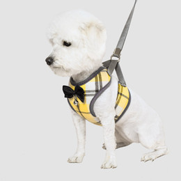 small dog fashion harness 2019 - 2019 New Fashion Cotton Medium Small Dog Harnesses Adjustable Breathable Vest Chest Strap With Plaid pet dog accessories
