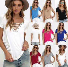 $enCountryForm.capitalKeyWord Australia - New Sexy Ladies V-Neck Lace Up Jumper Tops Womens V-Neckline Blouse T-Shirt Short Sleeve Pullover Casual Shirt Basic Tee
