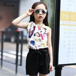 sleeveless suit for kids Australia - Children's Clothing Set Summer Girl Chiffon Sleeveless Top + Bow Shorts Suit Clothes for Kids Girls 5 6 8 10 11 12 14 Years Old