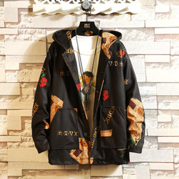 Korean fashion jacKet for mens online shopping - Hooded Bomber Jackets Men Mens Streetwear Funny Print Windbreaker Male Korean Fashion Autumn Jackets Coats Fashion High Quality for Men