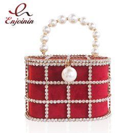 China Hot High Quality Openwork Basket Design Diamonds Pearls Women's Luxury Party Handbags Evening Bag Fashion Totes Bag Pouch Bosla cheap pearl handbag design suppliers