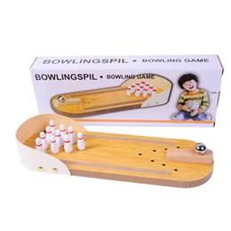 toy furniture wholesale Canada - Mini bowling desktop game wooden children puzzle innovative toys solid wood paternity fun ball Creative toys