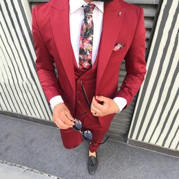 blue summer suit 2019 - 2019 New Fashion Red Prom Suit Wedding Groom Tuxedos Slim Fit Peak Lapel 3 Pieces Men Suits (Jacket+Pants+Vest) Custom M