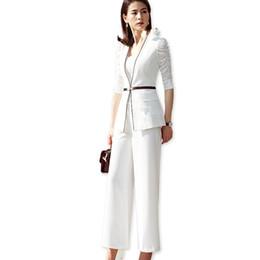 $enCountryForm.capitalKeyWord UK - 2 Pieces Set Half Sleeve Formal Pant Suit Women Work Wear Office Lady Uniform Style Business Jacket with Loose Pants