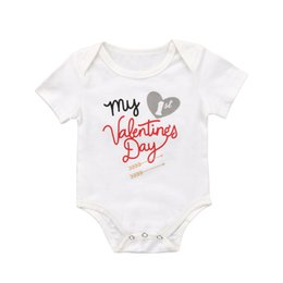 popular kids clothes Canada - 2019 Newborn Kid Baby Boy Girl Short Sleeve Valentine's Romper Cotton O-neck Jumpsuit Clothes Outfit Wholesale Pudcoco Popular