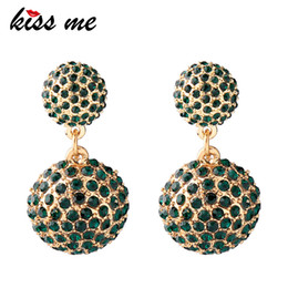 Red coRal Round eaRRings online shopping - Clear Green Round Crystal Drop Earrings Women Geometric Earrings Fashion Jewelry