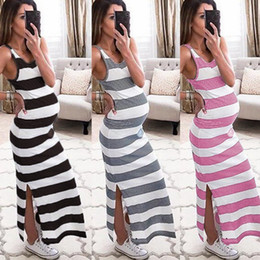 pregnant lady women dresses 2021 - Maternity dress Pregnant woman Sleeveless stripe Sundress Lady Casual simple Long Dress Gestational woman Comfort dressi