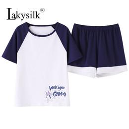 White Shorts Australia - White Navy Cartoon Tops & Shorts Women Round Neck Short Sleeve Pajama Sets Ladies T-Shirts Summer Women Letter Print Sleepwear