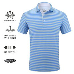 iron clothing 2019 - EAGEGOF Brand Male Golf wear regular fit Short sleeve sportswear quick dry golf clothing stripe Non iron Business polo s