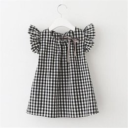 Sommer Mädchen Kleid karierten Ärmeln Prinzessin Rock koreanische Version des kurzärmeligen Baumwollhemdes im Angebot