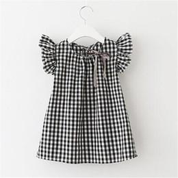 China Summer girls dress plaid sleeved princess skirt Korean version of the short-sleeved cotton shirt cheap korean girls dresses sleeves suppliers