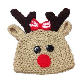 4e1d0272117 Handmade Knit Crochet Baby Girl Boy Reindeer Beanie