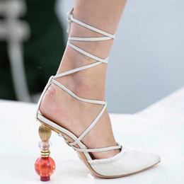 $enCountryForm.capitalKeyWord Australia - Geometric block heel sandals women lace up leather sandals pointed toe cross strap strange style high heels sandals