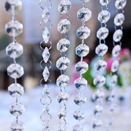 clear bead garland UK - 100pcs String Teardrop Acrylic Crystal Beads Garland Clear Acrylic Crystal Bead Garland Chandelier Hanging 17.5cm