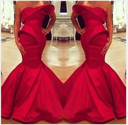 Red Satin Dress Design Australia - 2019 Saudi Arabian Design Red Sweetheart Mermaid Satin Floor Length Evening Dresses Custom Made Prom Dress