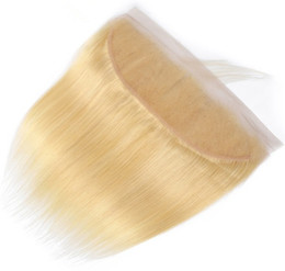 Free shipping brazilian virgin hair online shopping - 13x4 Lace Frontal Closure A Blonde Color Silky Straight Brazilian Virgin Human Hair Ear to Ear Lace Frontal for Woman