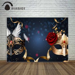 $enCountryForm.capitalKeyWord UK - inyl photography Allenjoy black and golden masks red rose dance party prom backdrop masquerade party golden ribbons background vinyl phot...