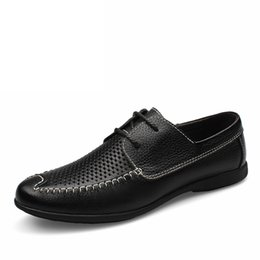 Discount best men loafer shoes Men Black Loafer perforated Shoes 100% Genuine Leather flats hollow driving shoes business men's shoes casual best