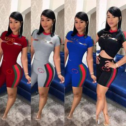 Wholesale bikers t shirts online – design Women Brand pieces set outfits Summer designer tracksuit Short Sleeve T shirt Top Shorts brand sports suits Biker Shorts Set C52804